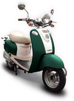 GO GREEN With Sit Down Electric Motorized Motorcycle Moped Scooter